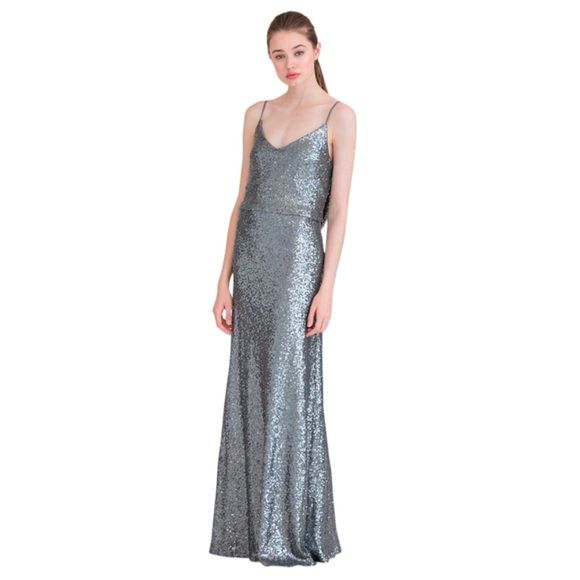 Jenny Yoo Dresses & Skirts - Jenny Yoo Jules Sequin Gown Charcoal / Silver